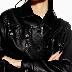 Topshop Black Western Faux Leather PU Jacket